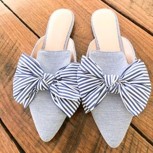 I.Crew Loafer Mule Bow Striped Flats